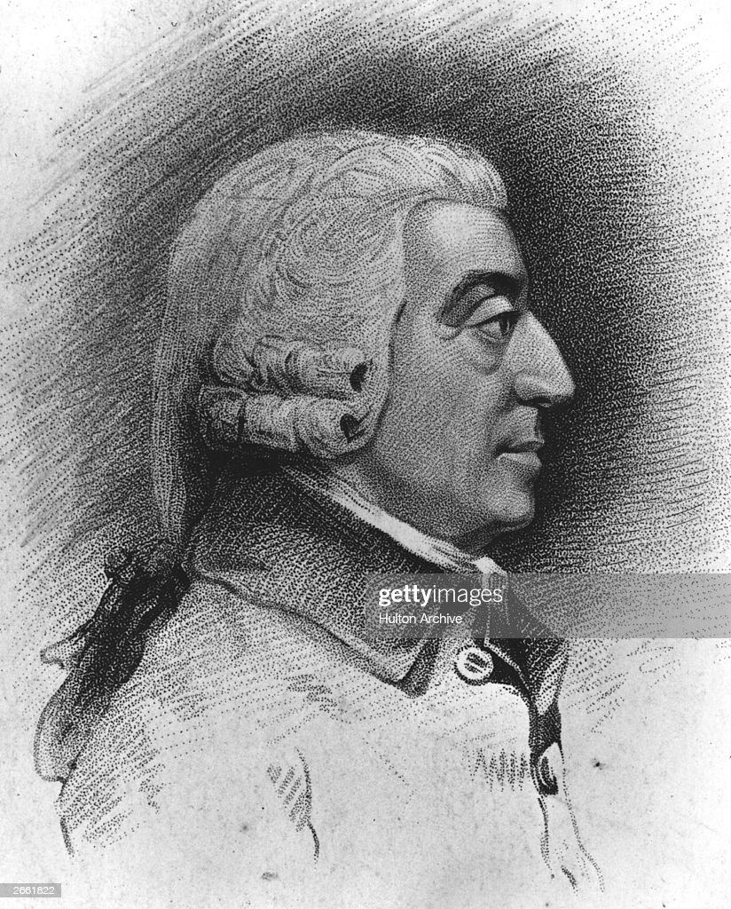 Scottish political economist Adam Smith (1723 - 1790). Original Artwork: Drawing by J Jacks and engraved by C Picart from a model by Tassie.