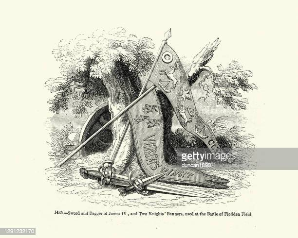 scottish swords and banners used at the battle of flodden field - scottish culture stock illustrations