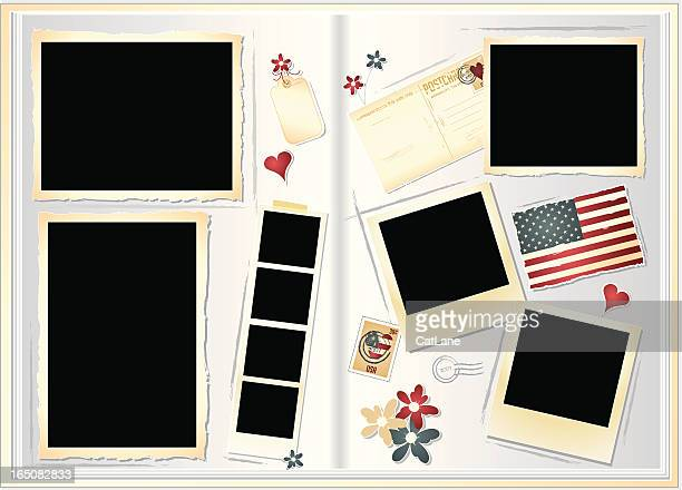 scrapbook - composite image stock illustrations