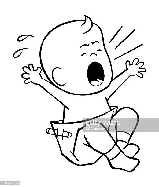 screaming baby - baby stock illustrations