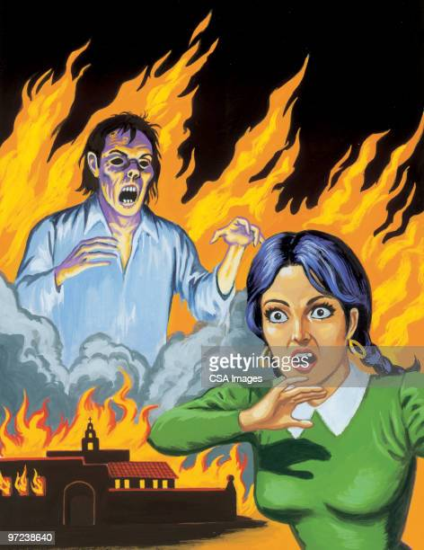 screaming woman and zombie in flames - one mid adult woman only stock illustrations