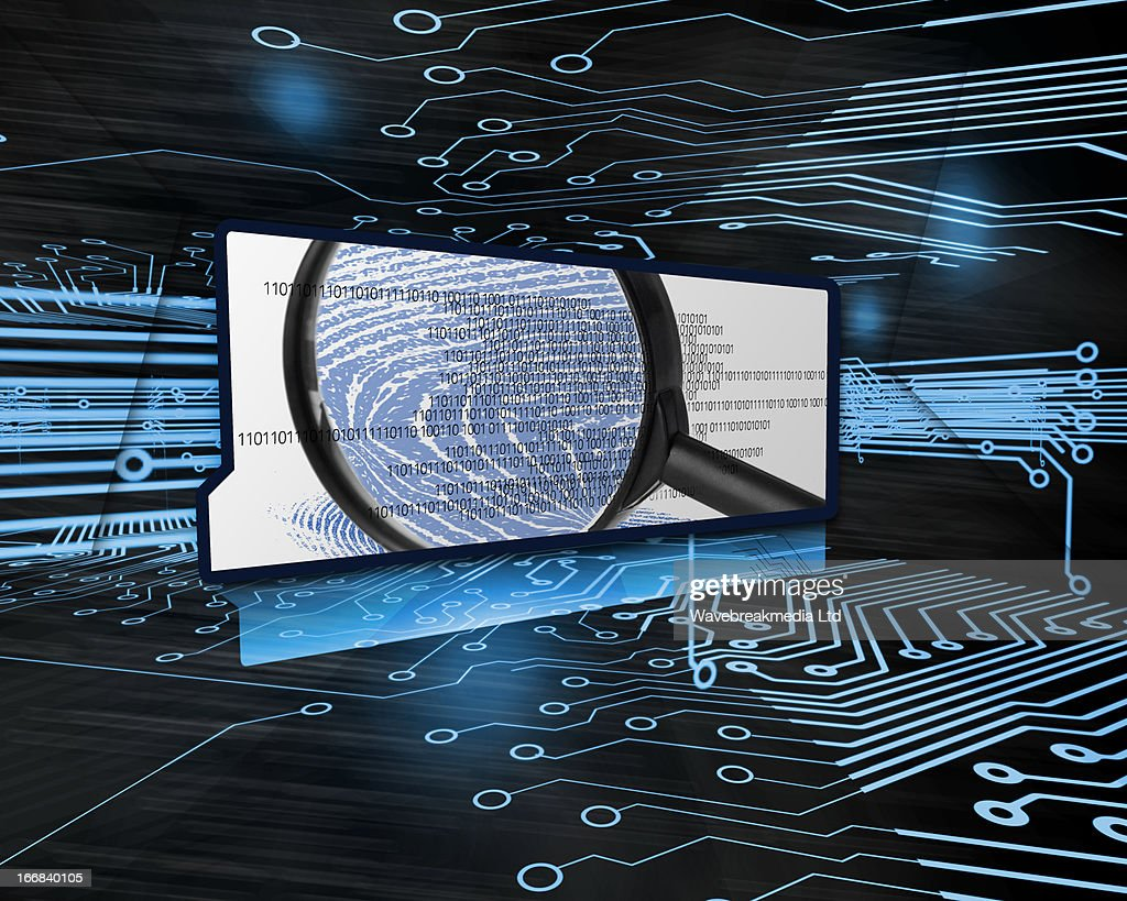 Screen Showing Binary Code And Magnifying Glass In Circuit Board Illustration Stock