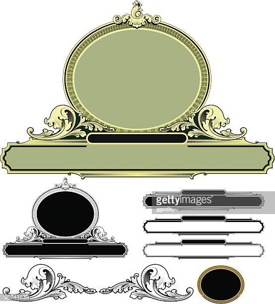 scroll and oval  panel design (vector) - gothic style stock illustrations, clip art, cartoons, & icons