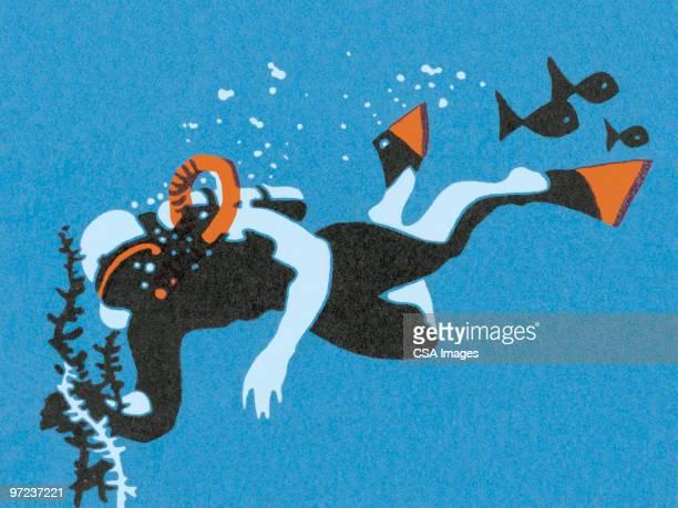 scuba diver - diving stock illustrations