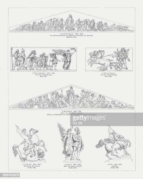 sculpture art, 19th century (denmark, germany), wood engravings, published 1897 - relief carving stock illustrations