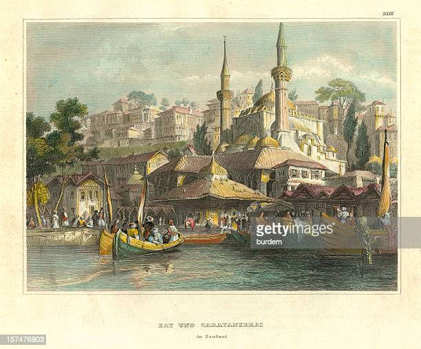 scutari/uskudar, istanbul - ottoman empire stock illustrations
