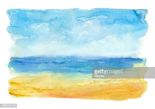 sea beach, watercolor painting