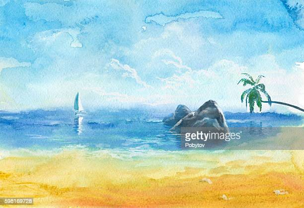 sea beach, watercolor painting - seascape stock illustrations, clip art, cartoons, & icons