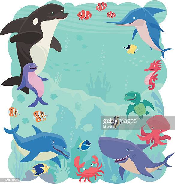 sea creatures - acanthuridae stock illustrations, clip art, cartoons, & icons