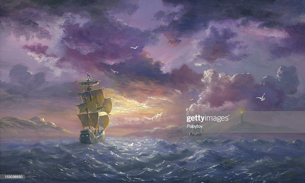 Sea Evening Excited : stock illustration