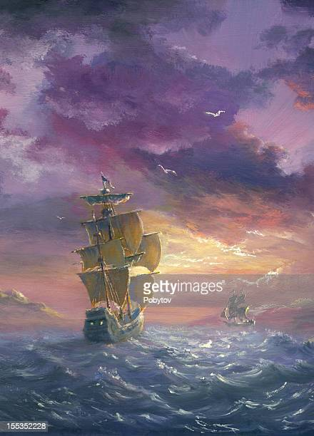 sea evening excited - pirate boat stock illustrations, clip art, cartoons, & icons