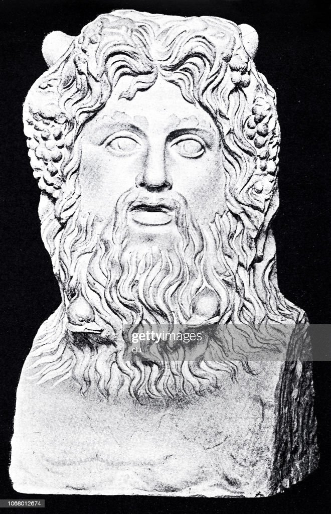 Sea God Colossal Bust In The Vatican stock illustration