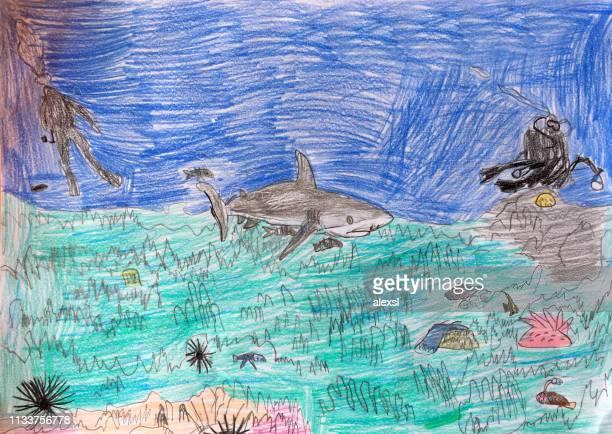 ilustraciones, imágenes clip art, dibujos animados e iconos de stock de animales de la vida marina tiburón peces niño dibujo pintura arte - producto artístico