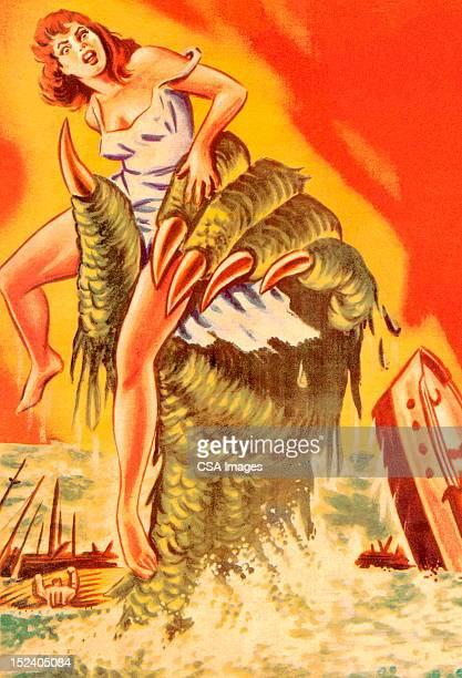 stockillustraties, clipart, cartoons en iconen met sea monster grabbing woman - monster fictional character