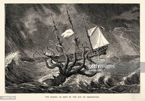 stockillustraties, clipart, cartoons en iconen met sea monster - kraken seen by the eye of imagination - monster fictional character