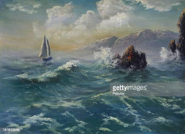 sea sketch - crag stock illustrations, clip art, cartoons, & icons