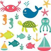 Sea vector cartoon elements