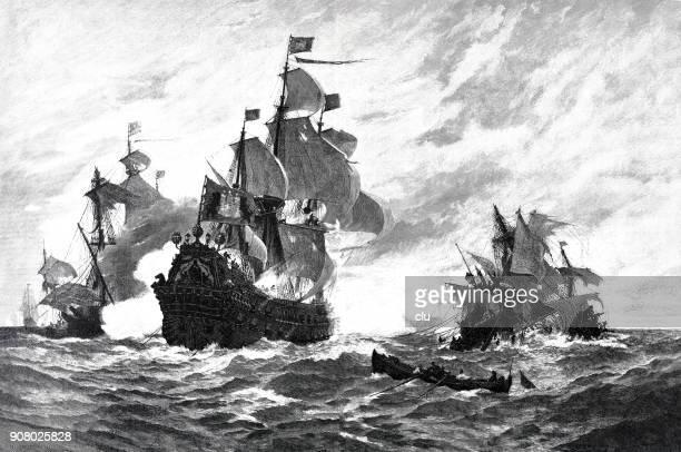 sea war in 1678 - hamburg sailing ship destroys 5 french caper ships - bang boat stock illustrations