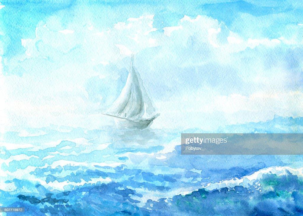sea - watercolor painting : stock illustration