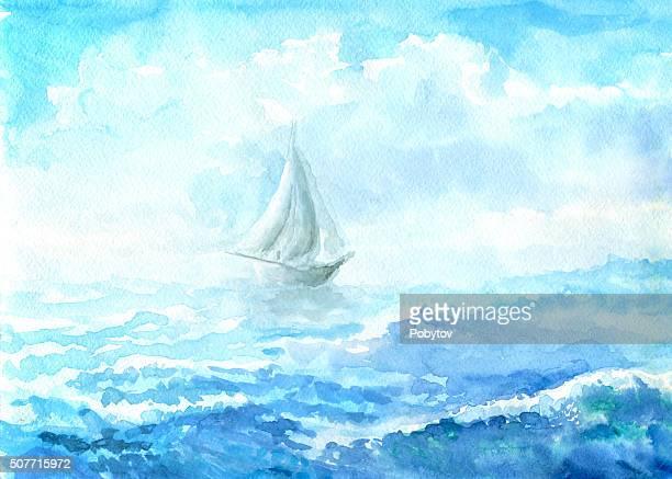 sea - watercolor painting - sailing boat stock illustrations, clip art, cartoons, & icons