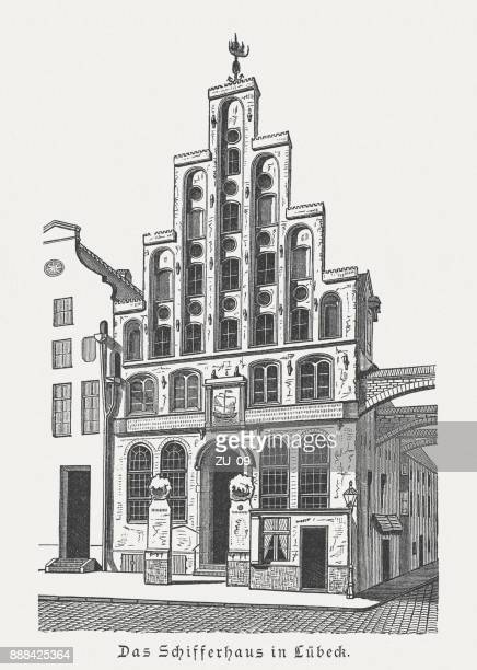 seafarers' guild (schiffergesellschaft) in lübeck, germany, wood engraving, published 1887 - pediment stock illustrations, clip art, cartoons, & icons