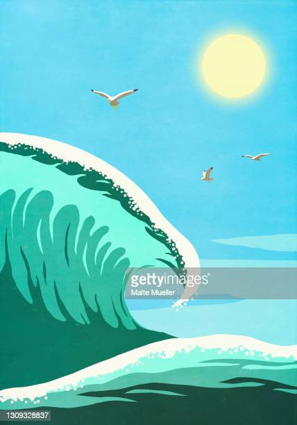 seagulls flying over sunny ocean wave - sea stock illustrations