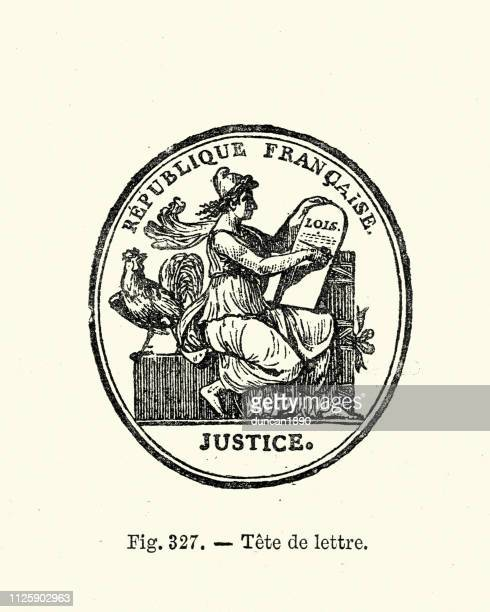 seal for the republique francaise, justice - the republicans french political party stock illustrations