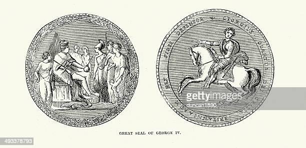 ilustrações, clipart, desenhos animados e ícones de colônia de george iv - great seal