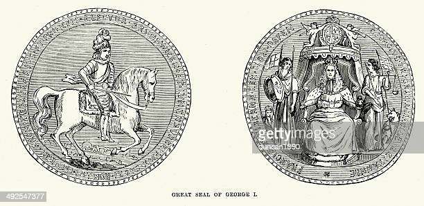 seal of king george i - great seal stock illustrations, clip art, cartoons, & icons