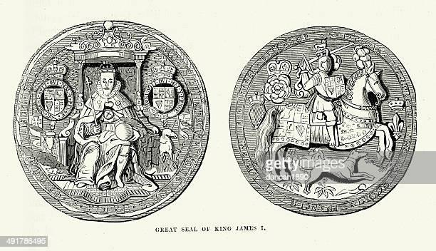 ilustrações, clipart, desenhos animados e ícones de colônia do rei james i - great seal