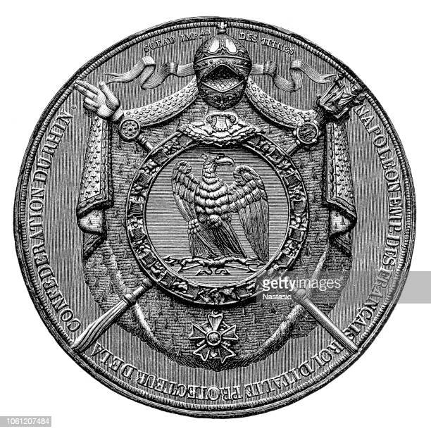 seal of napoleon. from the collections of the mariners' museum - franc sign stock illustrations, clip art, cartoons, & icons