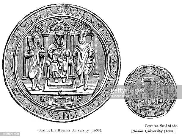 seal of rheims university - champagne region stock illustrations, clip art, cartoons, & icons