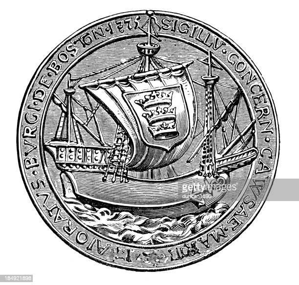 ilustrações, clipart, desenhos animados e ícones de seal-a cidade de boston - great seal