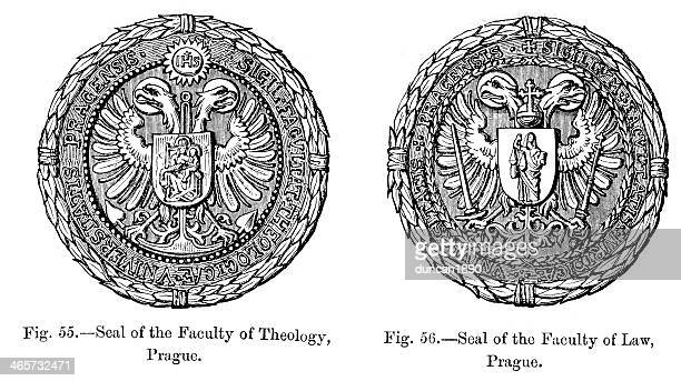 seal - the university of prague - seal stock illustrations