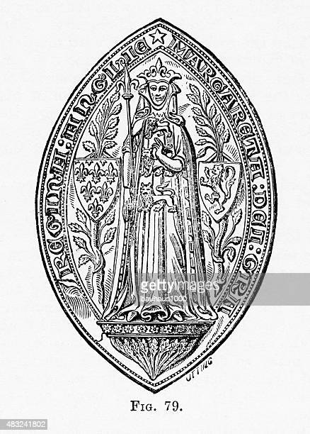 Seal with Scepter of Margaret, Queen of Edward I Engraving