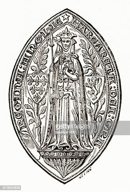 Zegel met de Scepter van Margaretha, koningin van Edward ik gravure