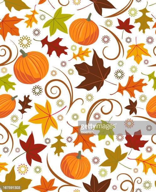 seamless autumn pattern - pumpkin stock illustrations, clip art, cartoons, & icons
