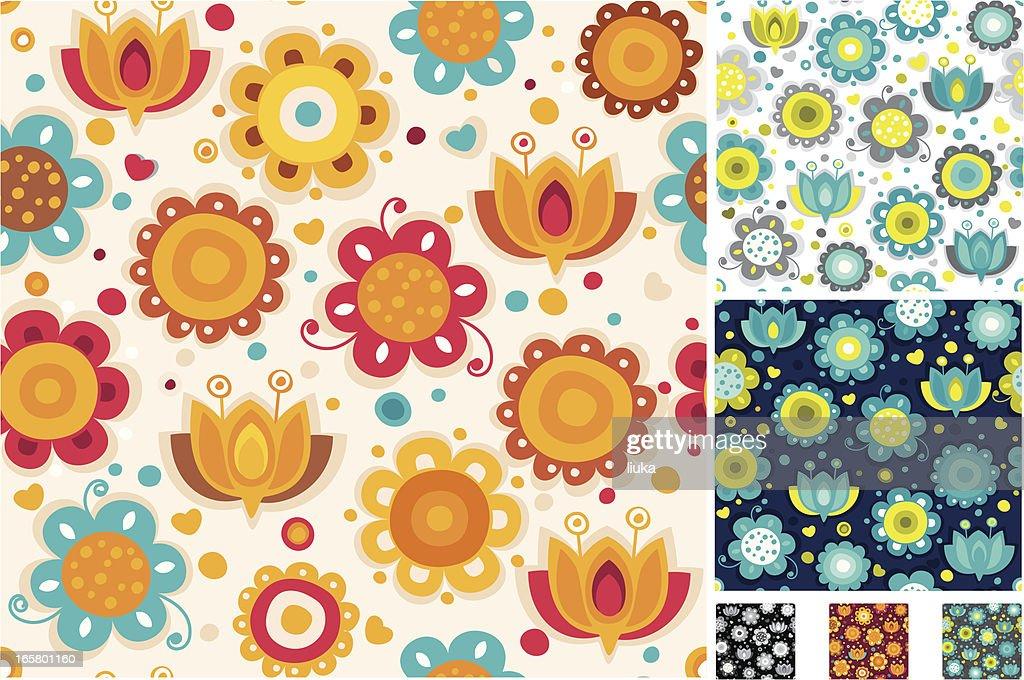Seamless bright flower pattern : stock illustration