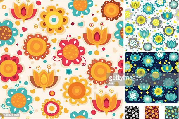 Seamless bright flower pattern