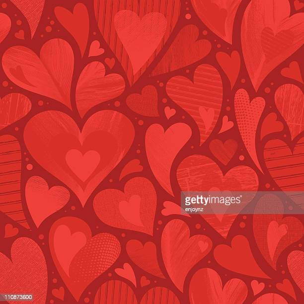 stockillustraties, clipart, cartoons en iconen met seamless heart textured background - liefde