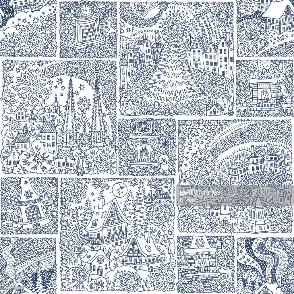 Kleurplaten Voor Volwassenen Stad.Naadloze Patchwork Patroon Van Fantasie Stedelijke