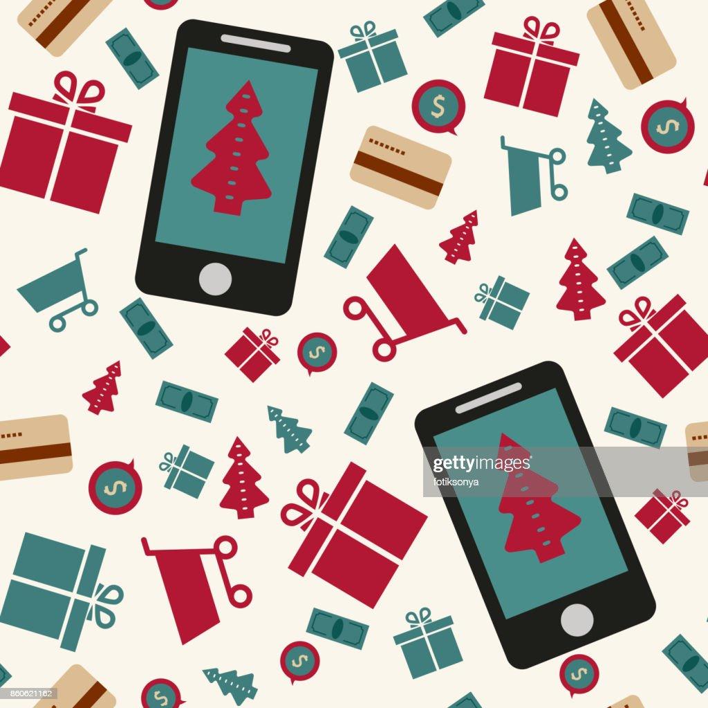 5293dc24d98912 Nahtlose Muster Handy Einkauf Internet Shop Präsentieren Stock ...