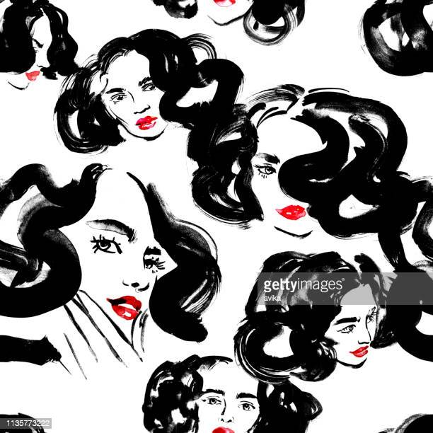 Seamless pattern of fantasy glamorous girls with wavy hair (in apricot and tea rose colours)