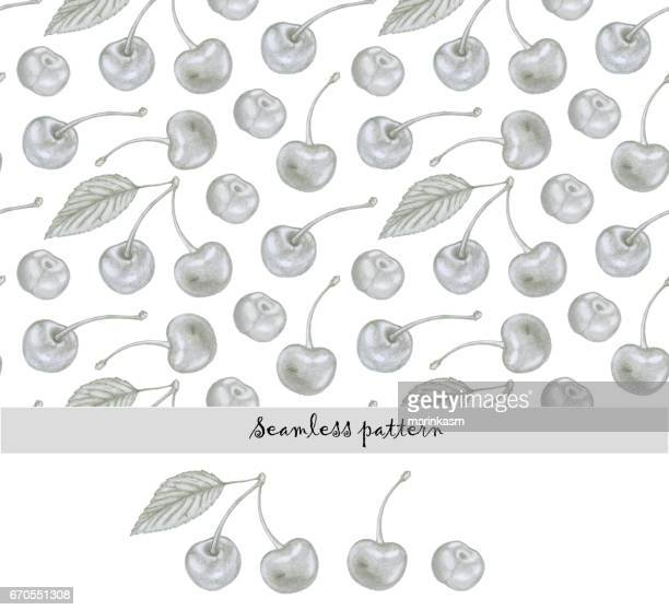 seamless pattern of hand drawn cherry berries. isolated cherry fruit illustration. - natural condition stock illustrations, clip art, cartoons, & icons