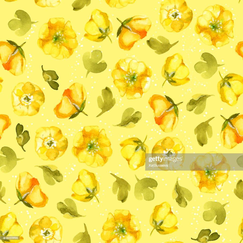 Nahtlose Muster Aquarell Gelben Blume Auf Gelbem Hintergrund