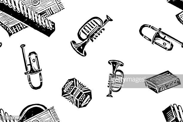 seamless pattern with musical instruments on the white background - bass instrument stock illustrations, clip art, cartoons, & icons
