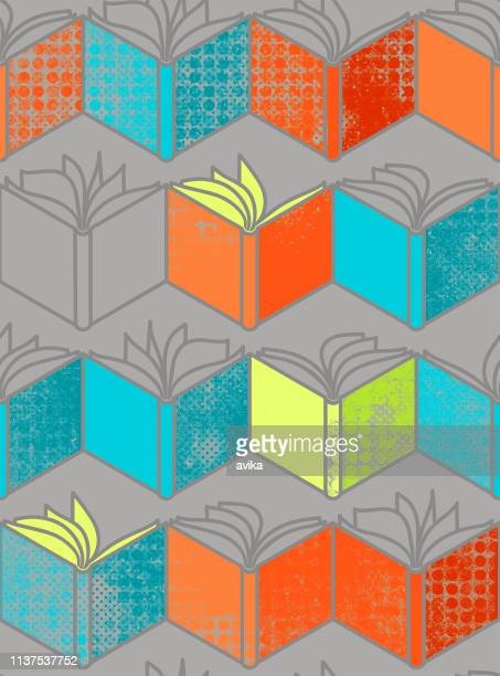 seamless pattern with orange. lime and blue  open books on grey background - library stock illustrations