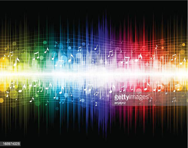 seamless rainbow music background - sheet music stock illustrations, clip art, cartoons, & icons