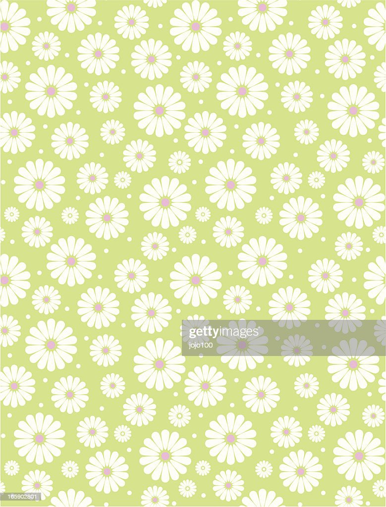 Seamless Simple Lime & White Daisy Polka Repeat Pattern