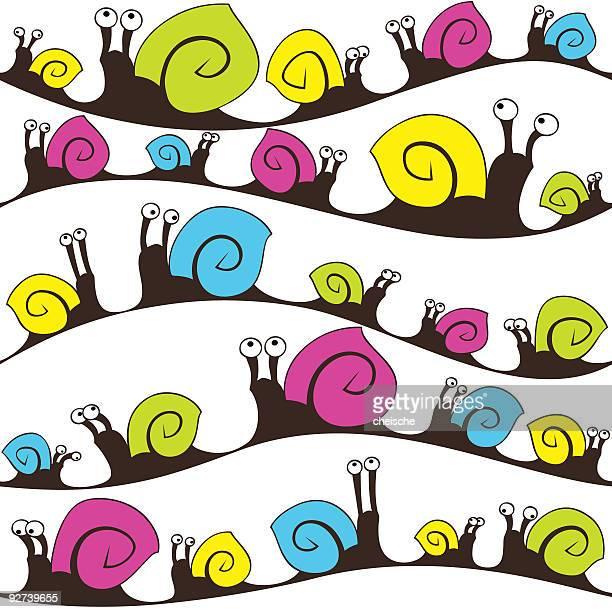 illustrations, cliparts, dessins animés et icônes de sans couture papier peint escargot - escargot
